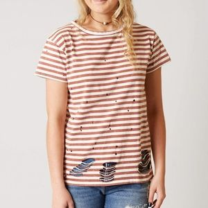 Gilded Intent Distressed White & Rust Tee Shirt